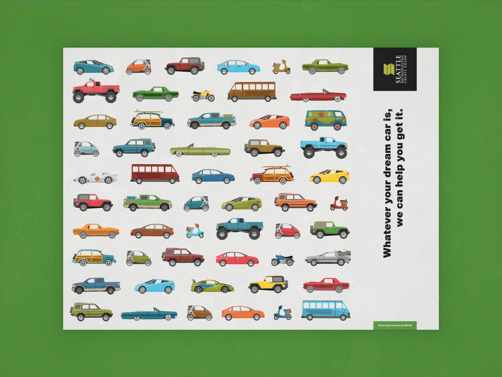 all cars postcard